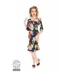 Hearts & Roses Navy Peplum Wiggle Dress
