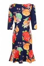 Hearts & Roses Navy Peplum Wiggle Dress