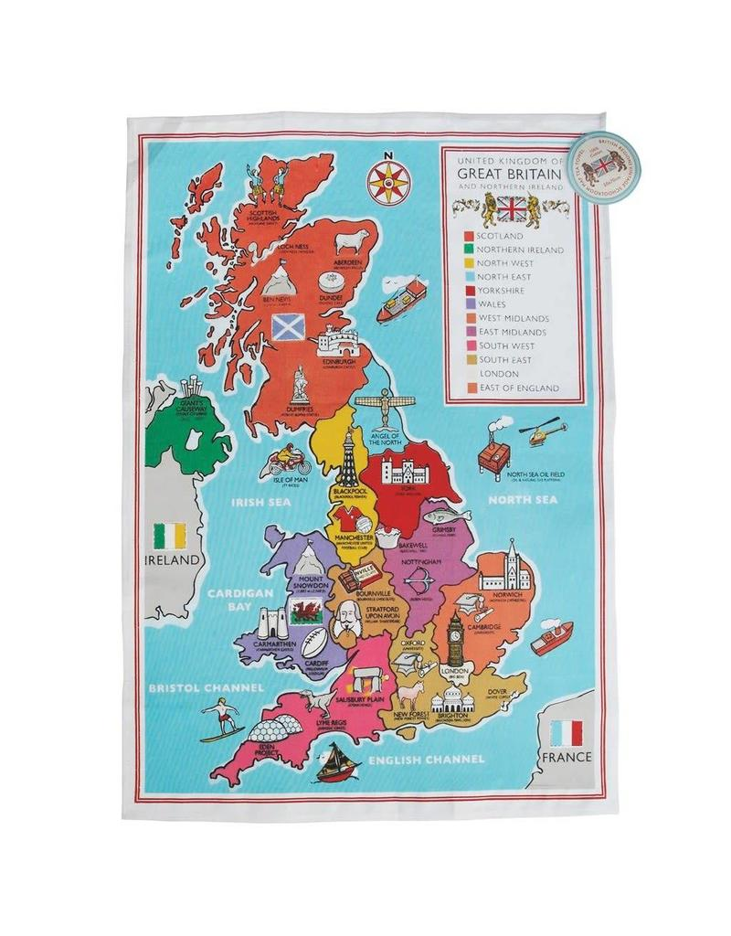 Rex London British school map - tea towel