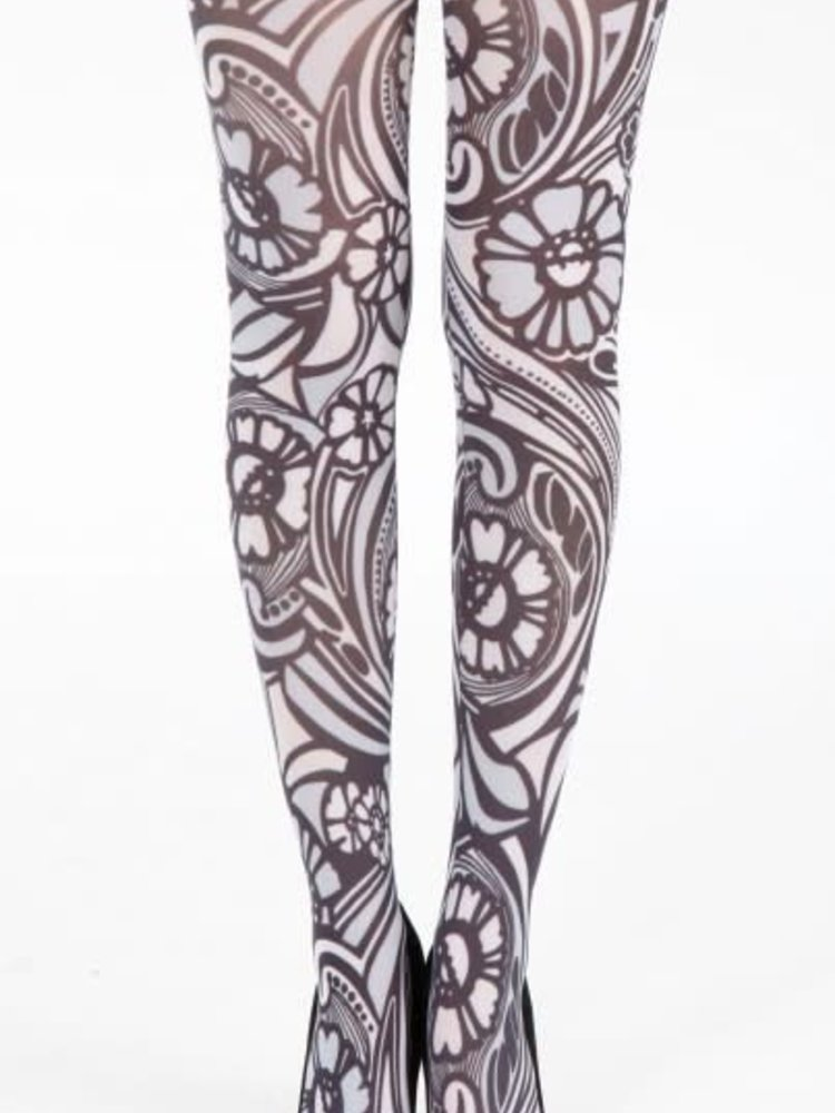 Pamela Mann Varrick Printed Tights - black white