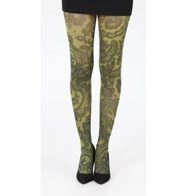 Pamela Mann Lace Frill Printed Tights - yellow XS-M