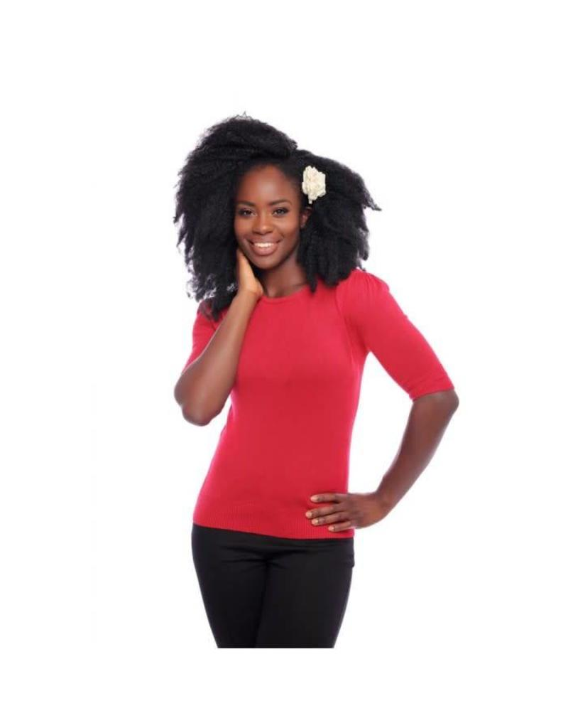 Collectif Chrissie knitted top - red