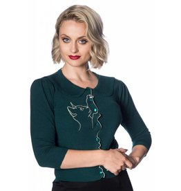 Banned Cat scallop cardigan - dark green