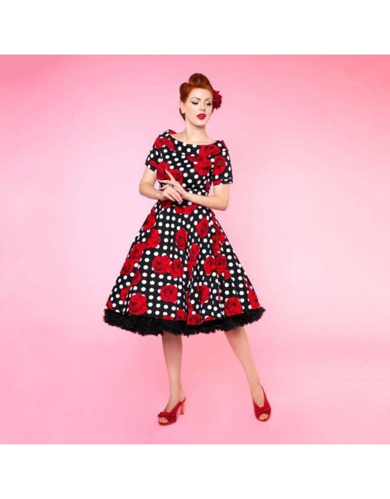 Dolly & Dotty Darlene Swing Dress in Rose Polka Dot