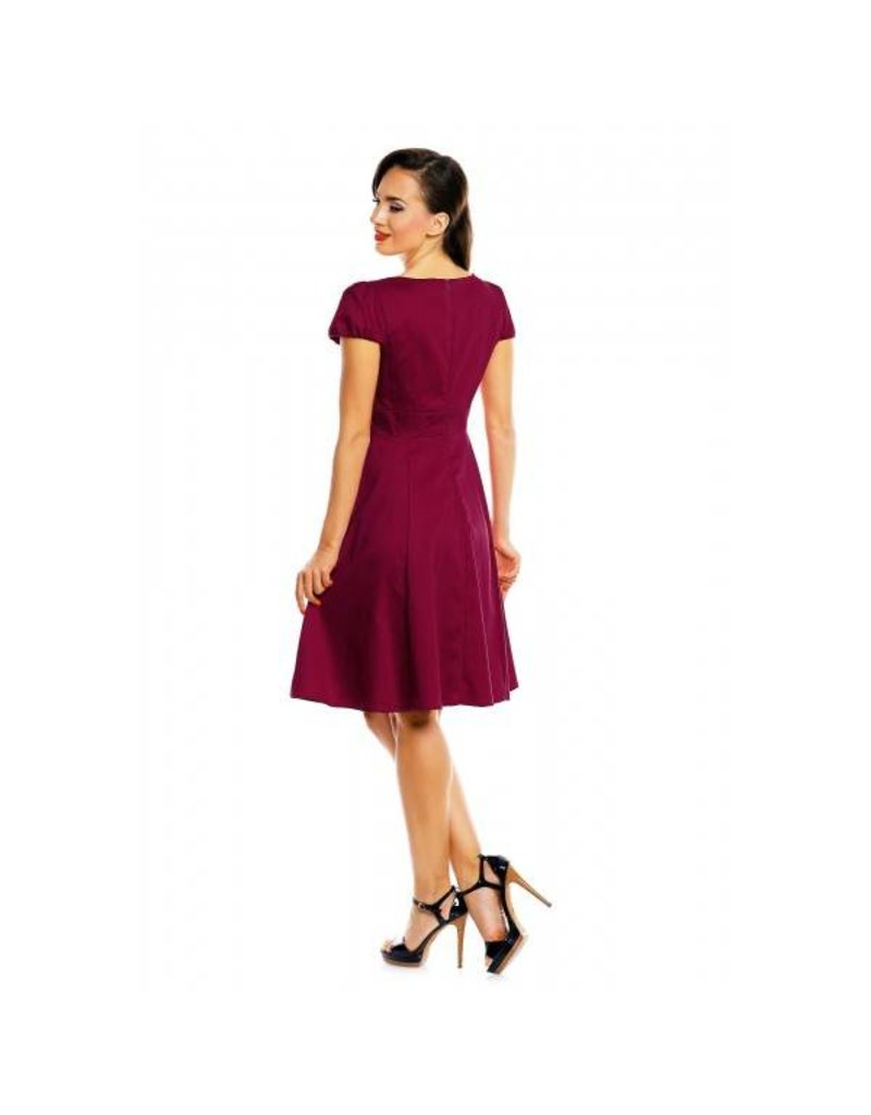 Dolly & Dotty Claudia Flirty Fifties Dress in Burgundy