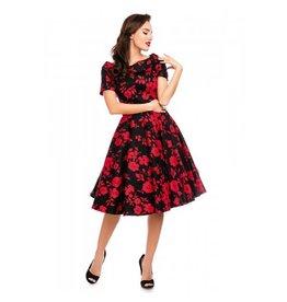 Dolly & Dotty Darlene Swing Dress in Black/Red Floral