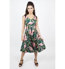 Voodoo Vixen Fifi Flamingo Flared Dress
