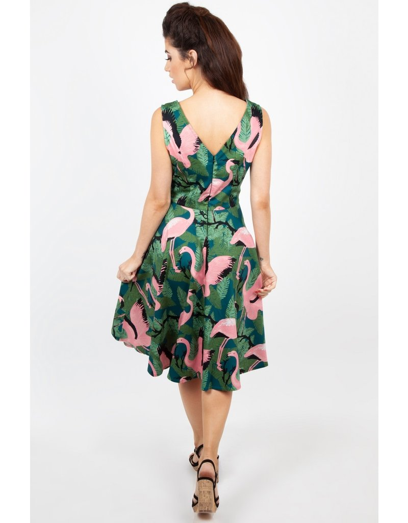 Voodoo Vixen Fifi Flamingo Flared Dress