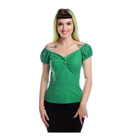 Collectif Dolores Vintage Plain Top Green