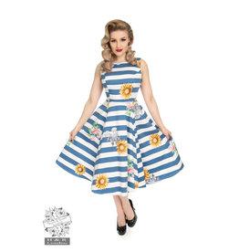 Hearts & Roses Blue Striped Sunflower Dress