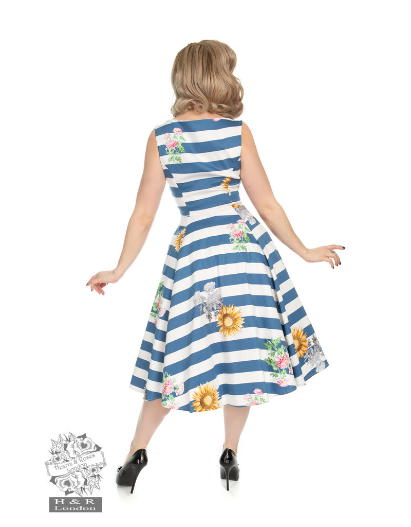 Hearts & Roses Blue Striped Sunflower Dress