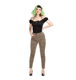 Collectif Maddy Leopard Denim-broek