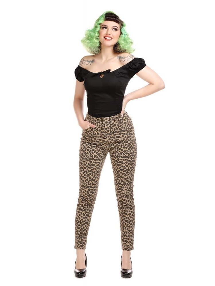 Collectif Maddy Leopard Denim-broek