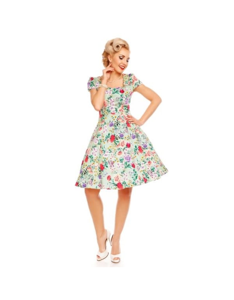 Dolly & Dotty Claudia Floral Dress in Green 6XL