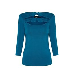 Dolly & Dotty Nicole Keyhole Top in Peacock Blue