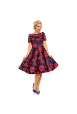 Dolly & Dotty Darlene Dress in Dark Blue/Red Floral