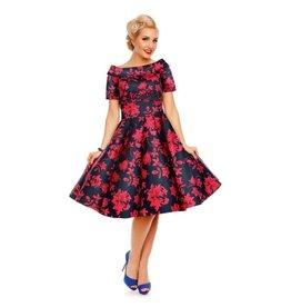Dolly & Dotty Darlene Dress in Dark Blue/Red Floral