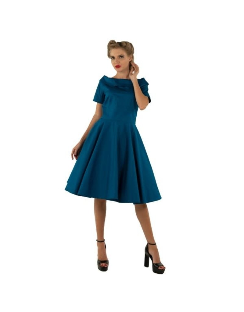 Dolly & Dotty Darlene Dress In Peacock Blue