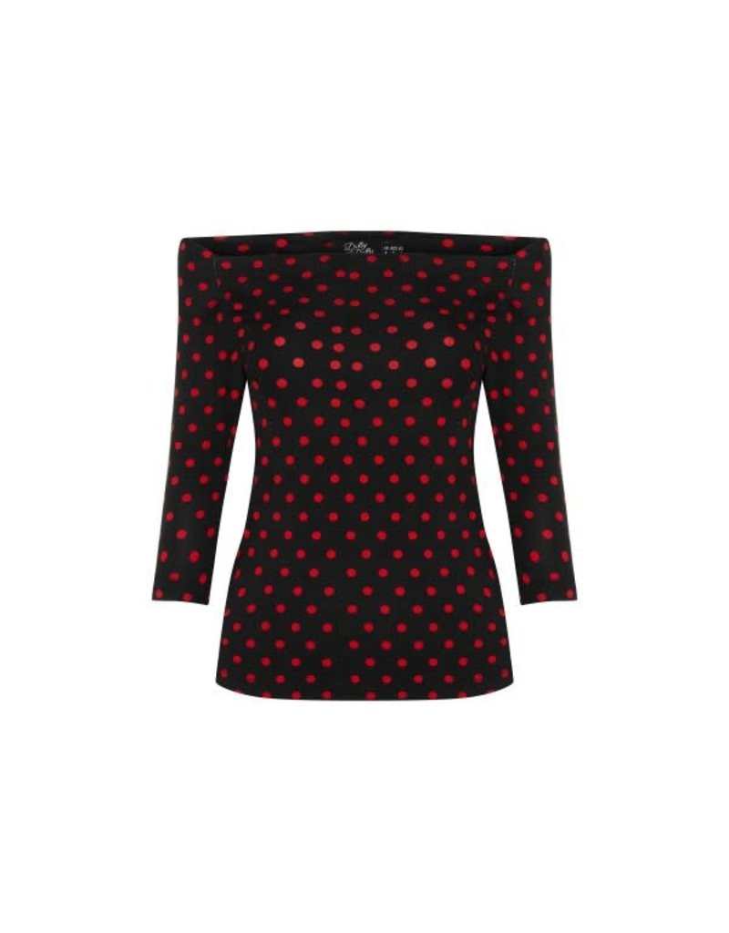 Dolly & Dotty Gloria Bardot Polka Dot Top in Black/Red