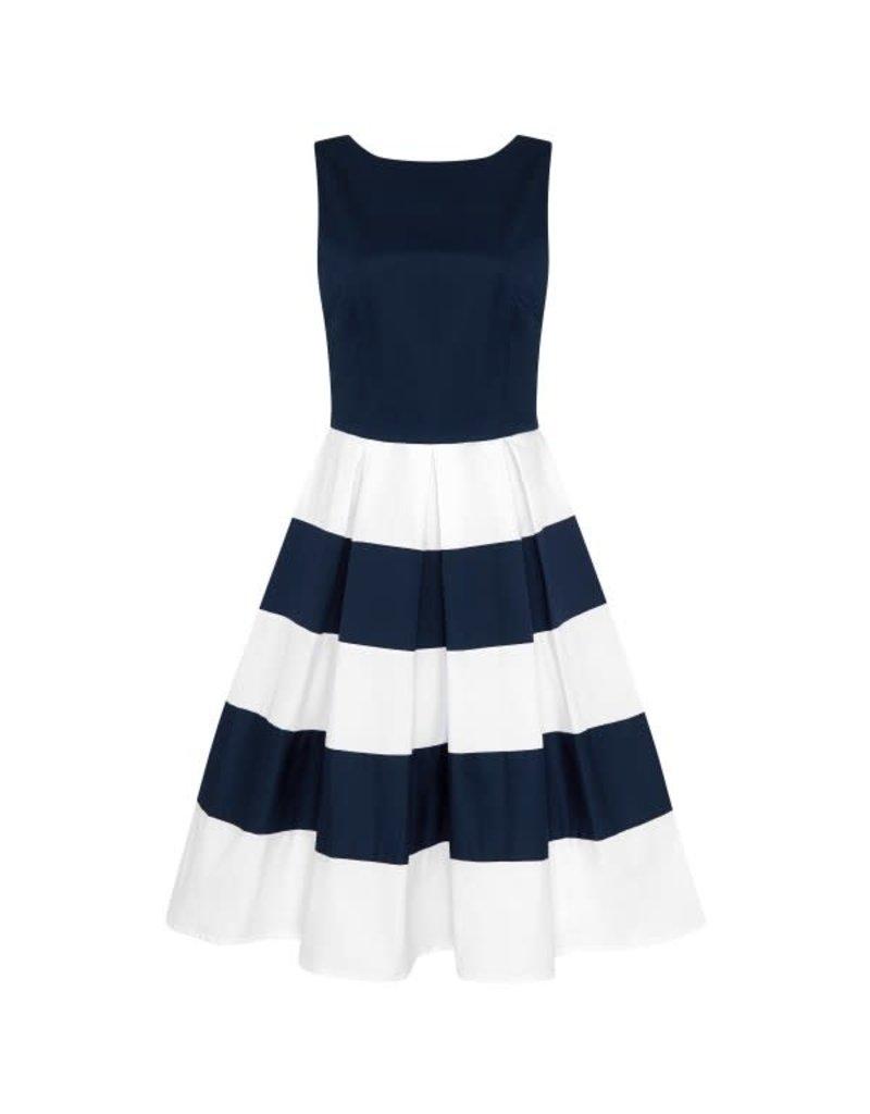 Dolly & Dotty Anna Stripe Dress in Navy/Off White