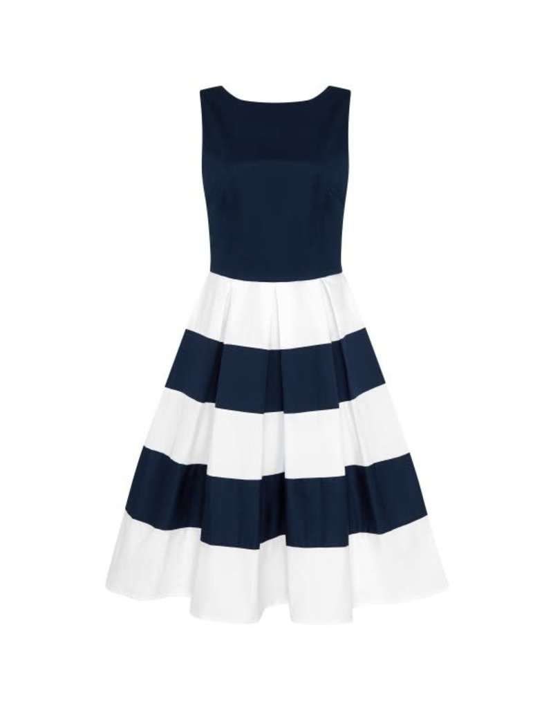 Dolly & Dotty Anna Stripe-jurk in marine / off-white