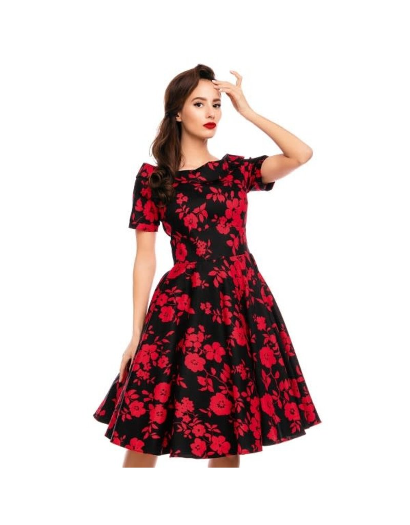 Dolly & Dotty Darlene Dress in Black/Red Floral