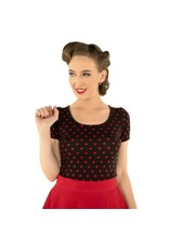 Dolly & Dotty Gina Polka Dot Cut Out Top in Black/Red