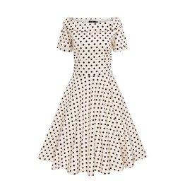 Dolly & Dotty Darlene Dress in Sand Beige/Black Polka Dot
