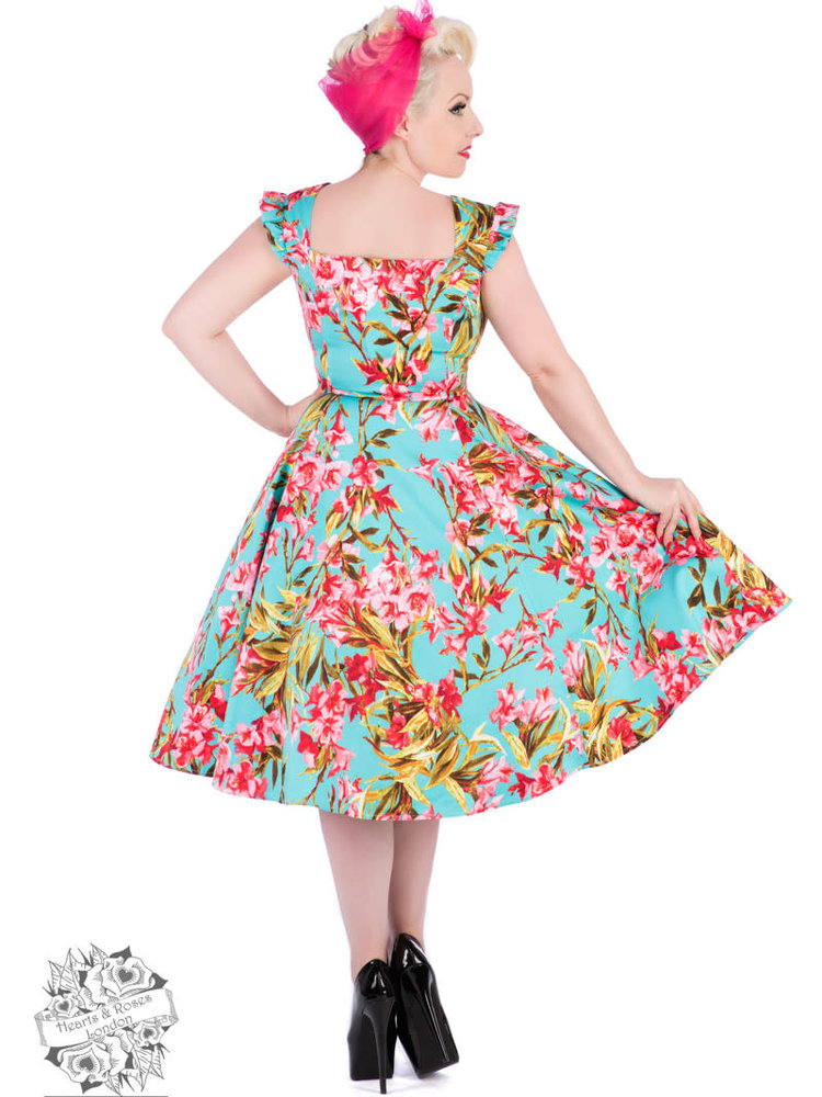 Hearts & Roses Turquoise Meredith Floral Dress