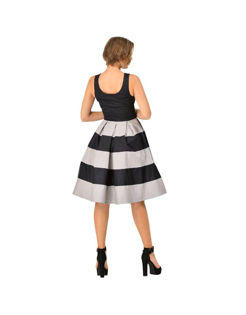 Dolly & Dotty Anna Stripe Dress in Black/Grey