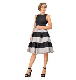 Dolly & Dotty Anna Stripe Dress in Black/Grey