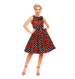 Dolly & Dotty Annie Dress in Black Rose Polka