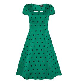 Dolly & Dotty Claudia Polka Dot Dress In Green & Black