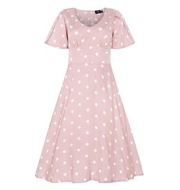 Dolly & Dotty Janice Dress in Baby Pink/White Polka Dot