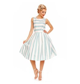 Dolly & Dotty Annie Dress in Pale Blue/White