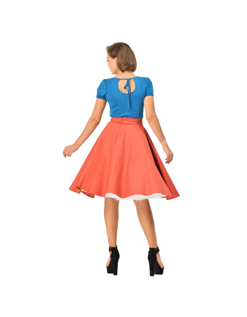 Dolly & Dotty Gina Cut Out Top in Peacock blue