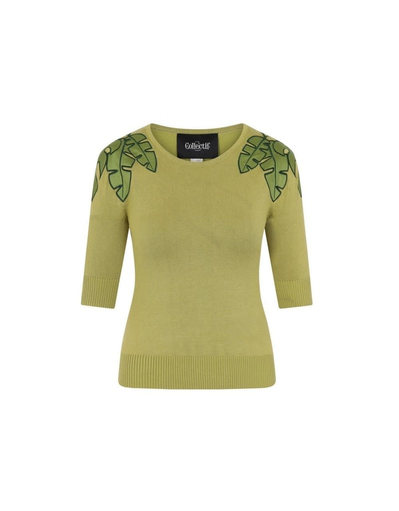 Collectif Chrissie Tropical Leaf Jumper
