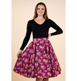 Lady V Full Circle Skirt - Damson Berry