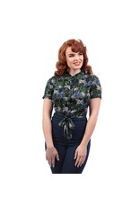 Collectif Sammy Palm Tree Print Tie Blouse