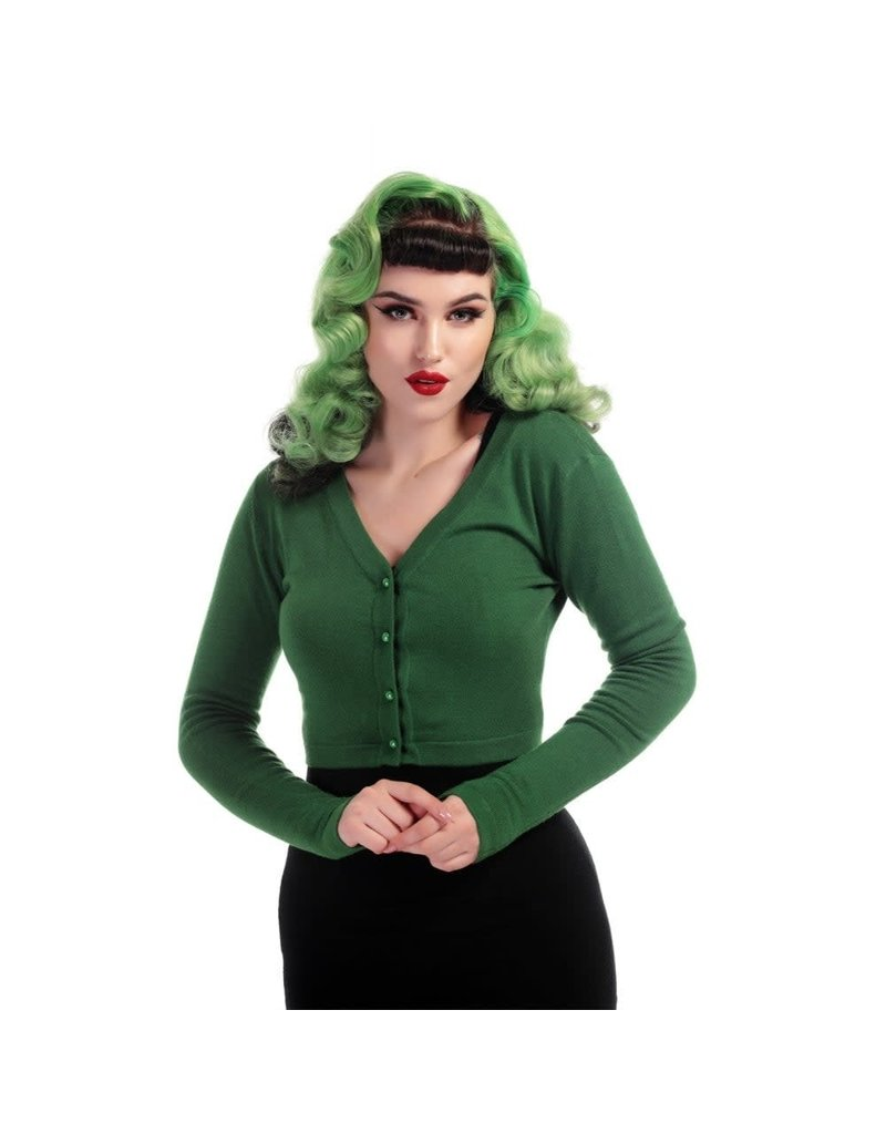 Collectif Kimberley Knitted Bolero Green