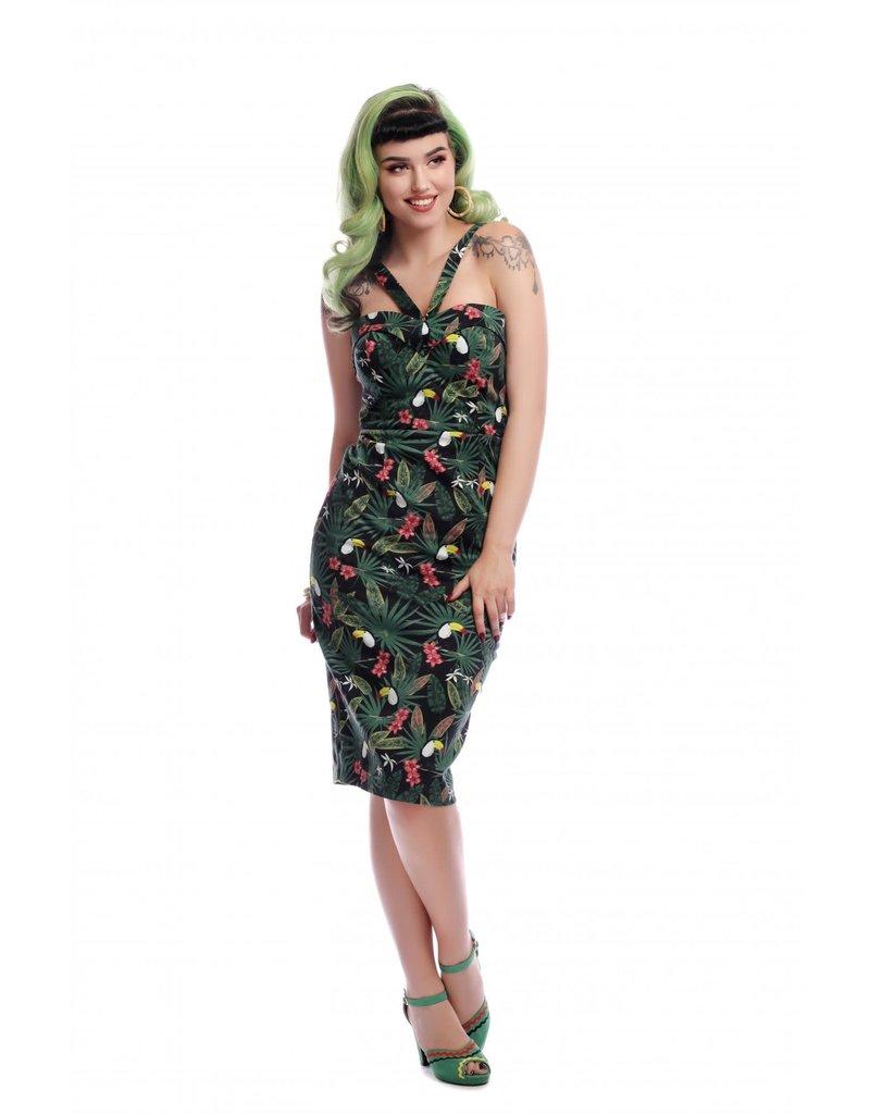 Collectif Kiana Tropicalia pencil jurk