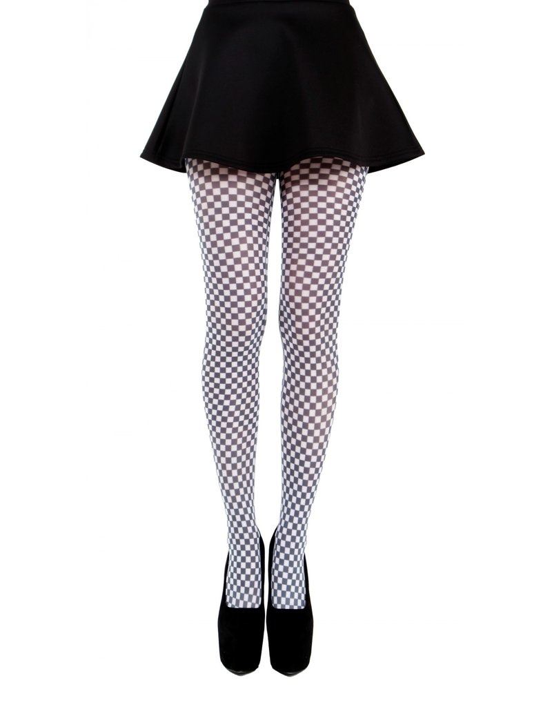Pamela Mann Gingham Check Printed Tights Black & White
