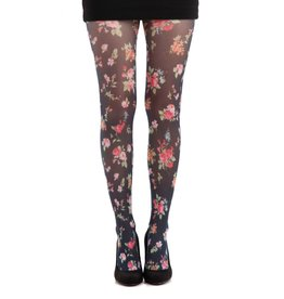 Pamela Mann Ditsy Floral Black Printed Tights
