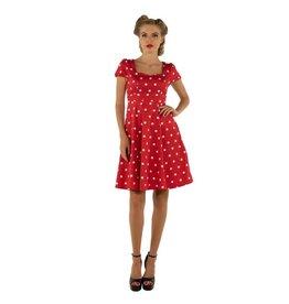Dolly & Dotty Claudia Polka Dot Dress In Red & White