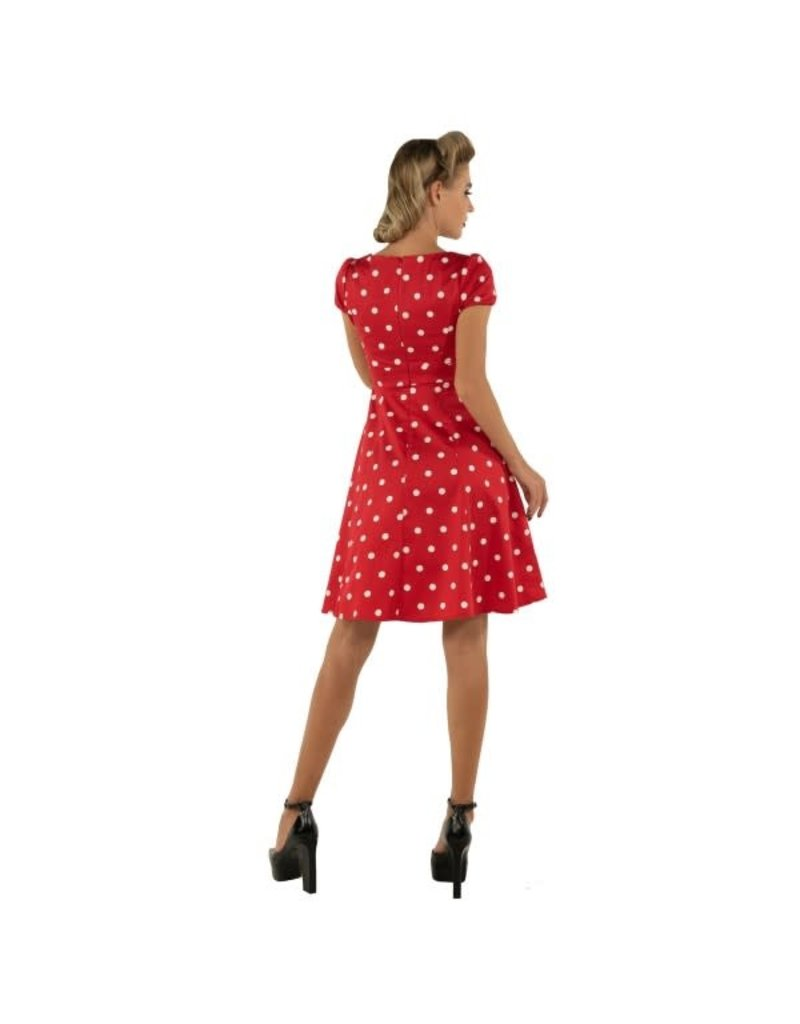 Dolly & Dotty Claudia Polka Dot Dress In Red & White
