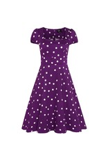 Dolly & Dotty Claudia Polka Dot Dress In Purple & White