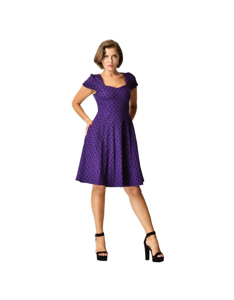 Dolly & Dotty Claudia Polka Dot Dress in Purple/Black