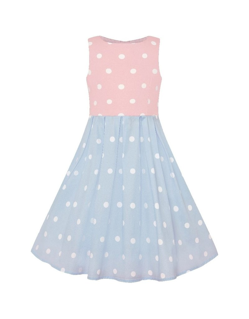 Dolly & Dotty Kids Annie Polka Dot Dress in Baby Pink, White and Baby Blue