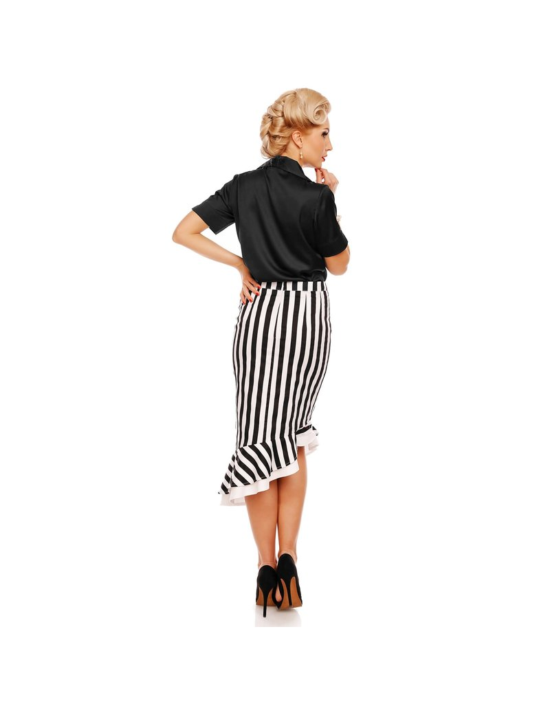 Dolly & Dotty Madison Ruffle Skirt in Black/White in S