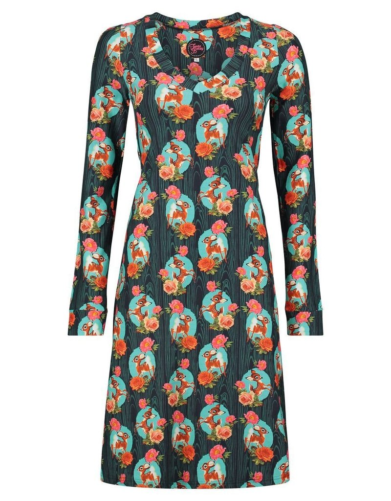 Tante Betsy Dress Lizzy Kitschy Deer Black